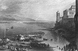 A view of the kumbh mela in Haridwar in the 1850s