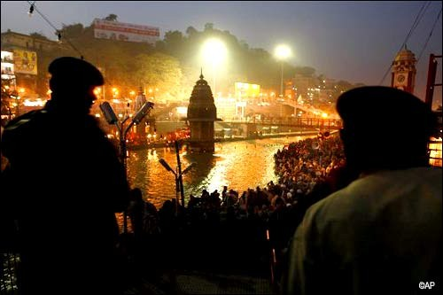 As the night sets in at Haridwar
