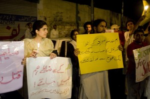 Another view of the journos protest in Lahore