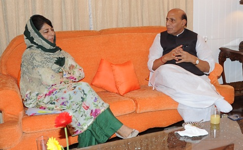 Home Minister Rajnath Singh with J&K Chief Minister Mehbooba Mufti